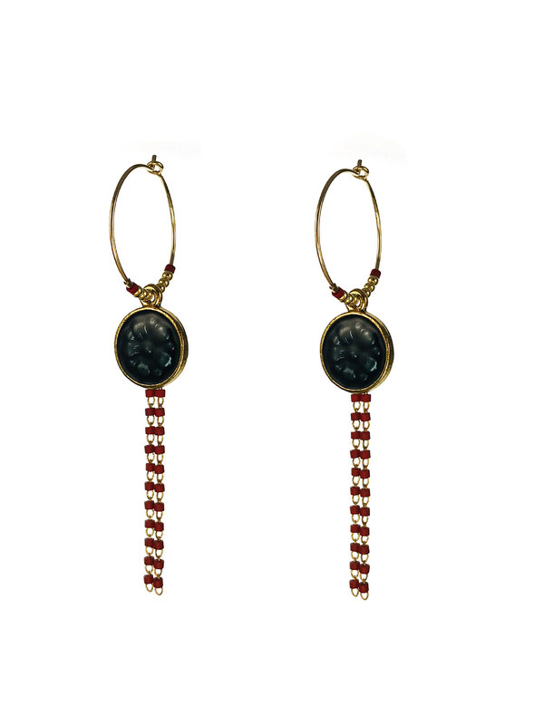 Blinckstar Earrings Gold Hoop Dark Blue Flower Dark Red Bead Chain