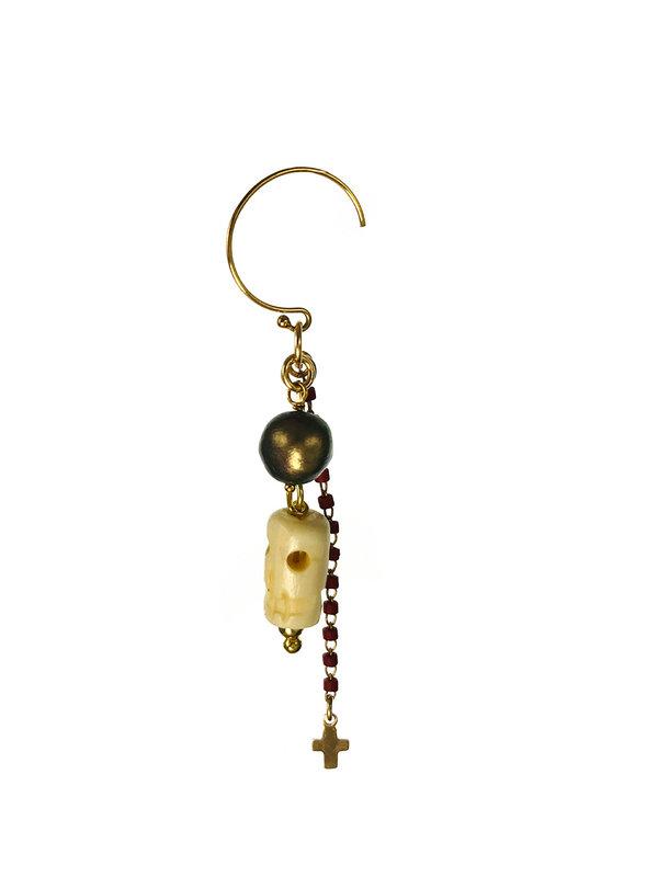 Blinckstar Earrings Gold Rounds Hook Black Fresh Water Pearl Bone Skull