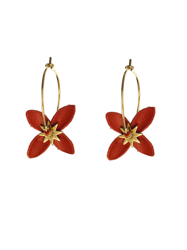 Blinckstar Earrings Gold Hoop Leather Flower  Dark Orange