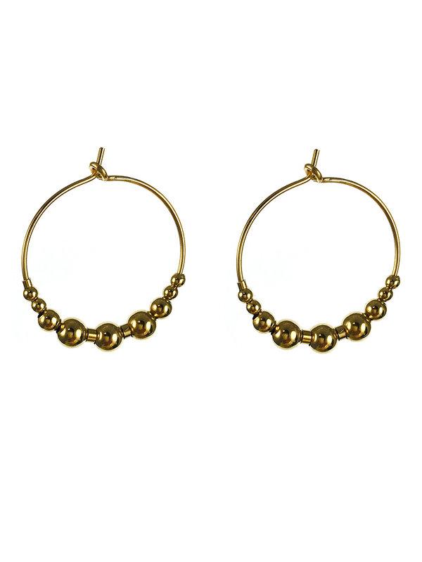 Blinckstar Earrings Gold Hoop Beads 20mm