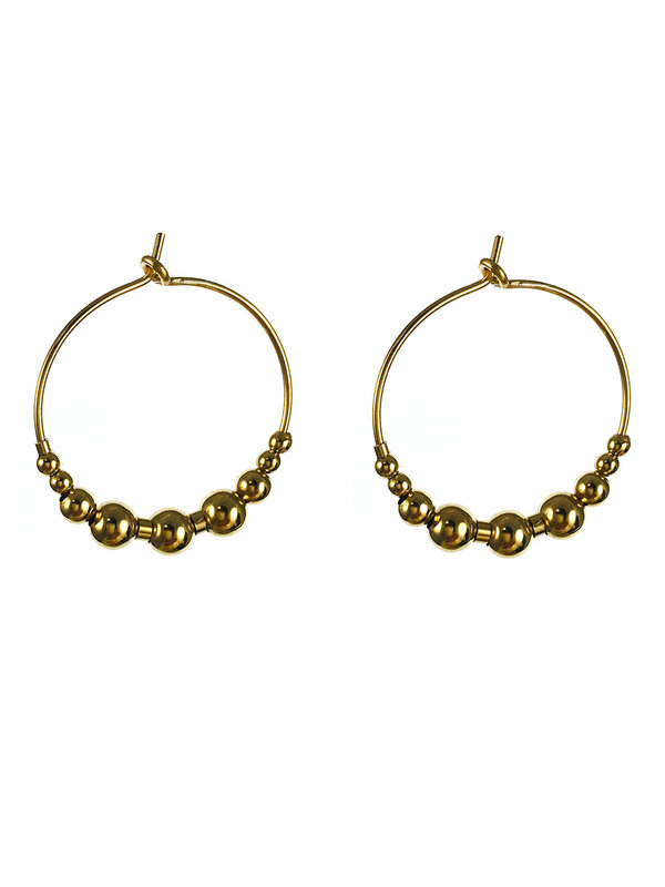 Blinckstar Earrings Gold Hoop Beads