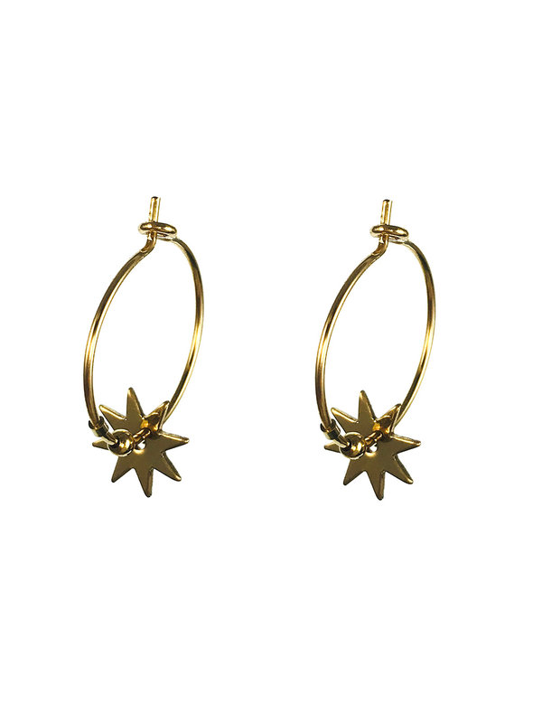 Blinckstar Earrings Gold Hoop 8 Point Star