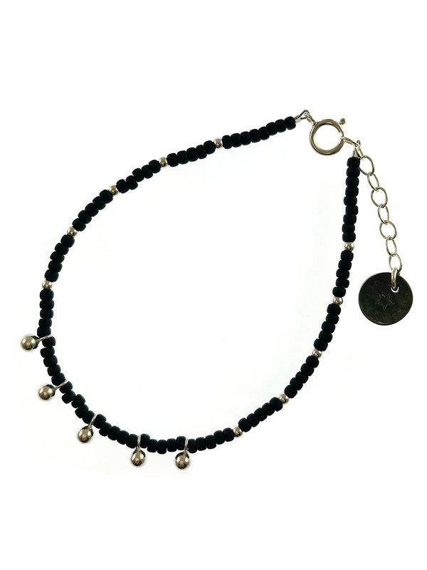 Blinckstar Bracelet Silver 5 Drops Matt Black Beads