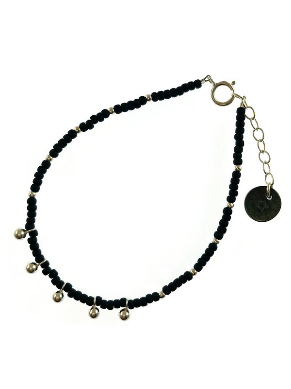 Blinckstar Bracelet Silver 5Drops Matt Black Beads