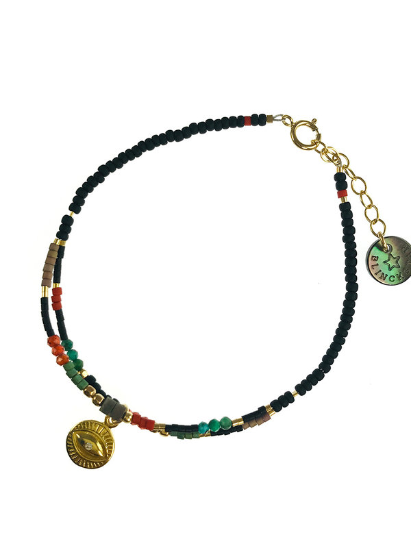 Blinckstar Bracelet Gold Two Row Mix Turquoise , Red Zirconia , Shell