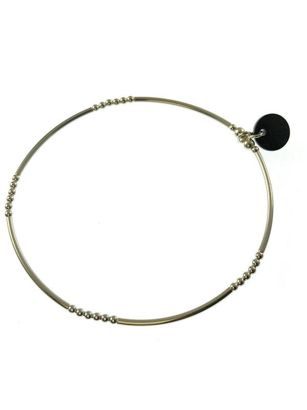 Blinckstar Bracelet Silver Beads Tube Elastic