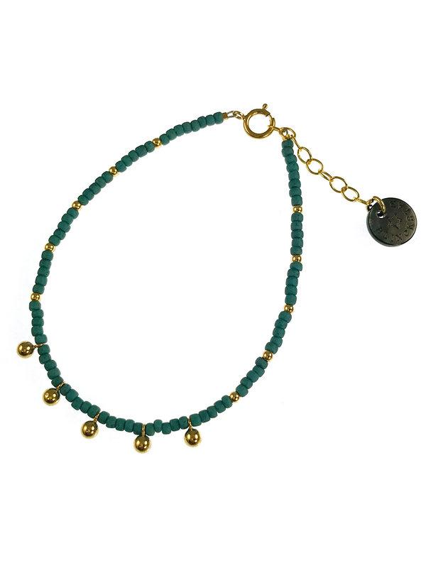 Blinckstar Bracelet Gold Matt Petrol GF Balls