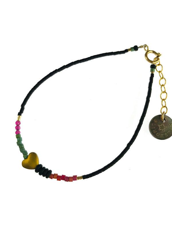 Blinckstar Bracelet Gold Mini Mix Brass Heart Fuchia Zircon Matte Green