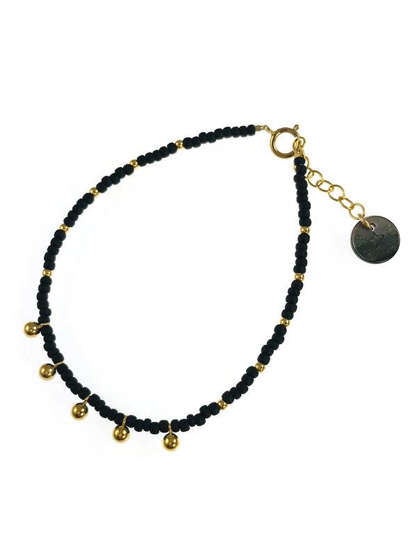 Blinckstar Bracelet Gold Matt Black GF Balls