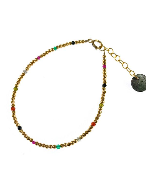 Blinckstar Bracelet Gold Balls 11 Dots Of Mixed Precious Stones