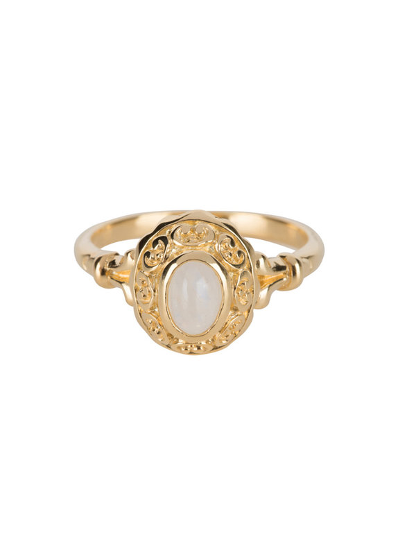 Betty Bogaers Antique Moonstone Ring Goldplated