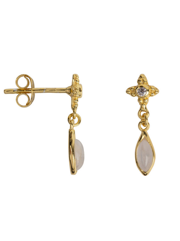 Betty Bogaers Antique Dotted Moonstone With Drop Stud Earring Gold Plated