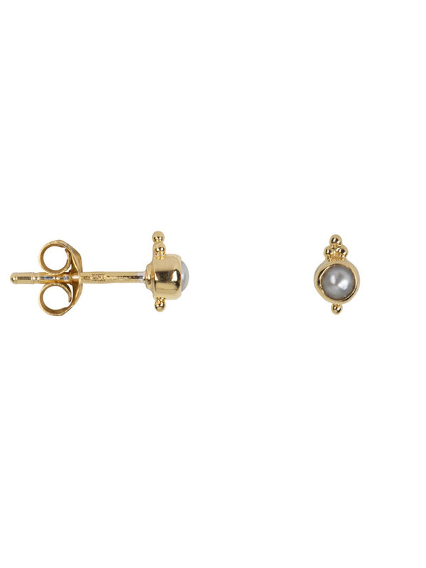 Betty Bogaers Antique Pearl Stud Earring Gold Plated