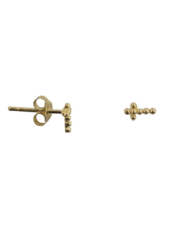 Betty Bogaers Dotted Cross Stud Earring Gold