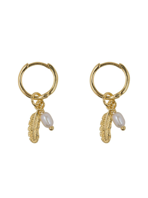 Betty Bogaers Small Hoop Feather And Pearl Combi Gold Plated