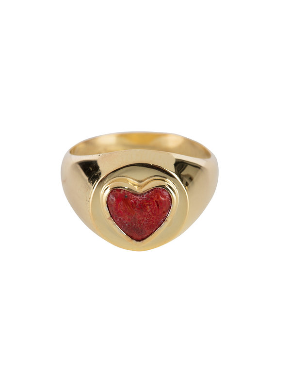 Betty Bogaers Red Heart Ring Gold Plated