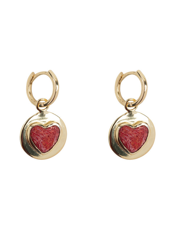 Betty Bogaers Red Heart Small Hoop Gold