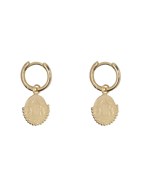 Betty Bogaers Old Coin Small Hoop Earring Goldplated