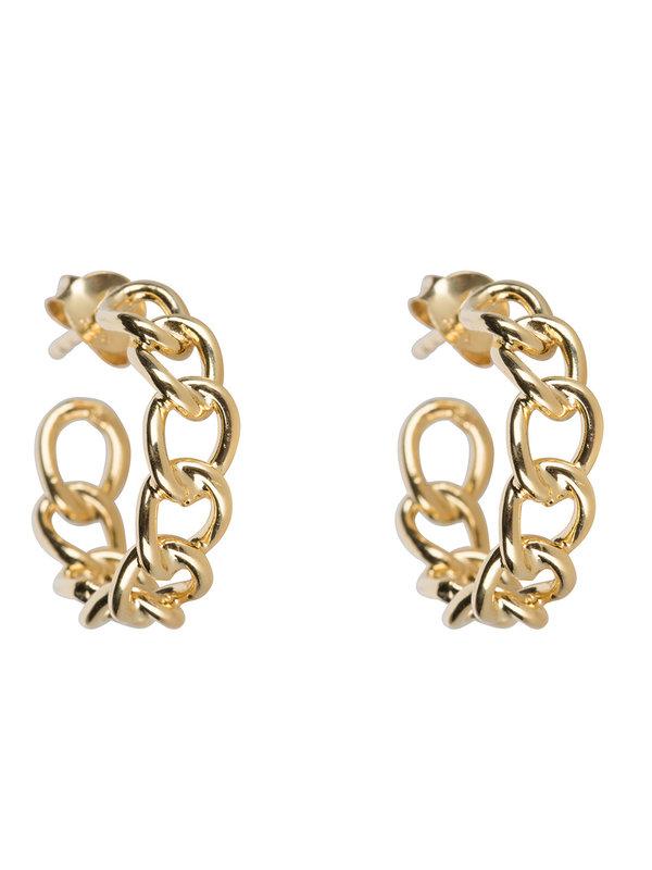 Betty Bogaers Big Chain Hoop Earring Gold Plated