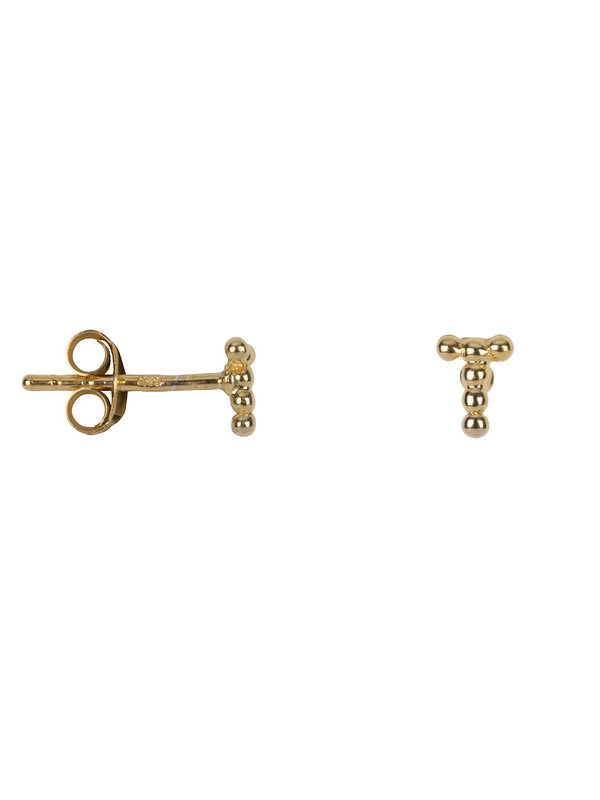 Betty Bogaers Letter Stud T Earring Gold Plated