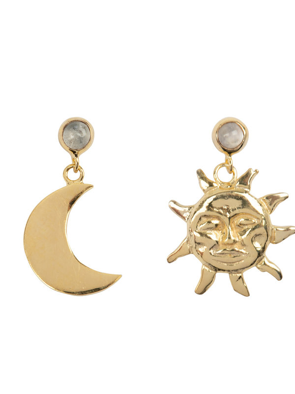 Betty Bogaers Sun And Moon Moonstone Stud Earring Gold