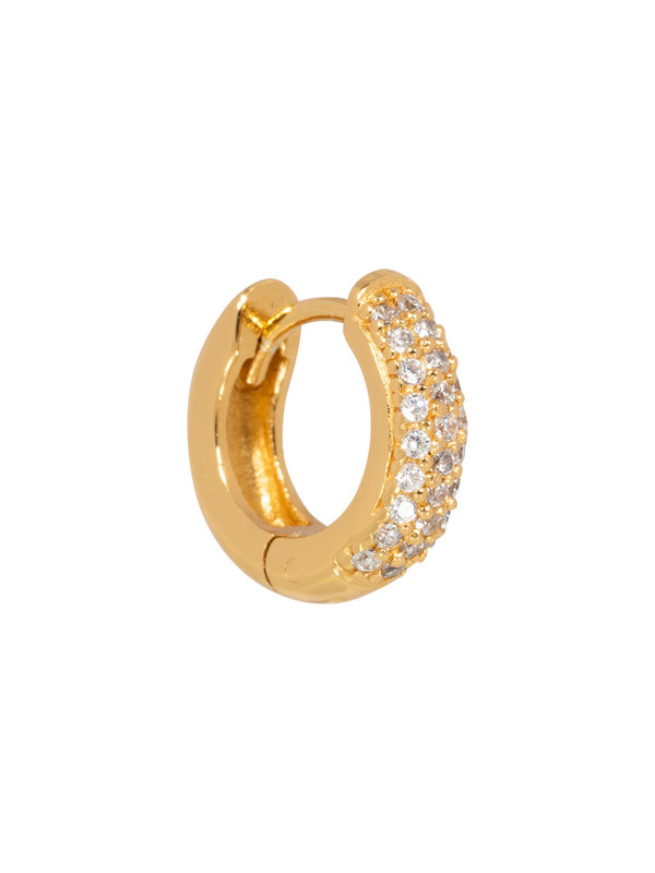 Eline Rosina Single Pavé Huggie Gold Plated