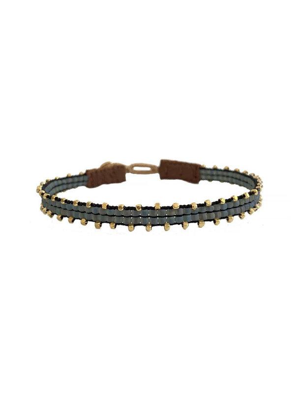 Ibu Jewels Bracelet Fishbone  Blue Grey RI03