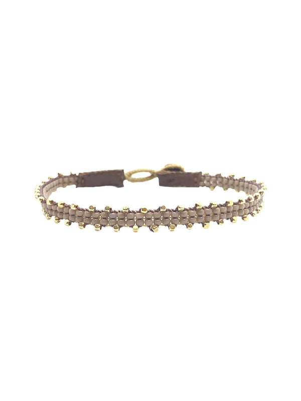 Ibu Jewels Bracelet Fishbone Taupe RI09