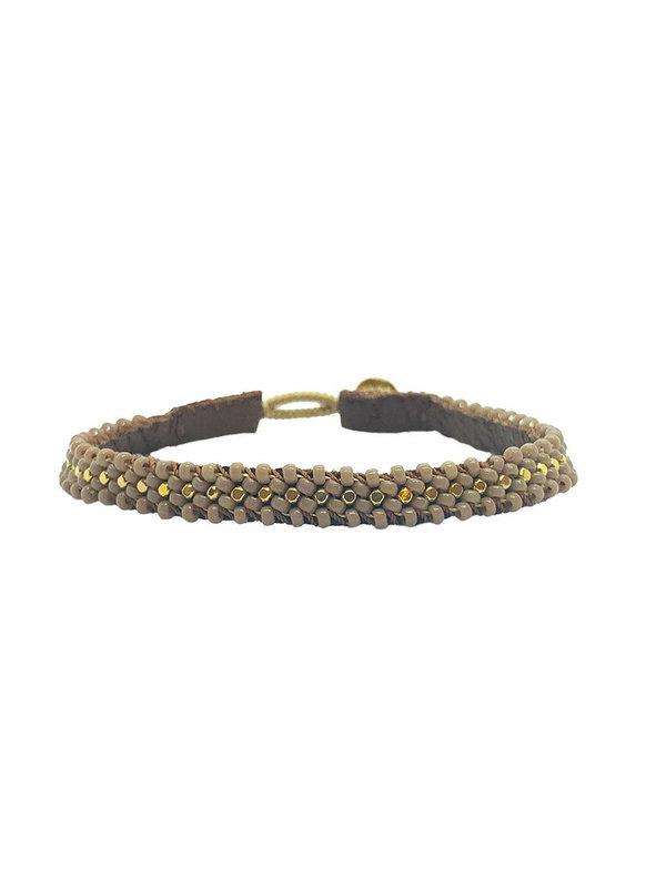 Ibu Jewels Bracelet Lace Taupe RJ09