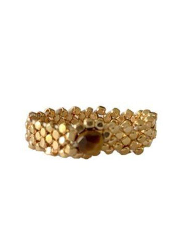 Ibu Jewels Ring Gold Weave Tigereye
