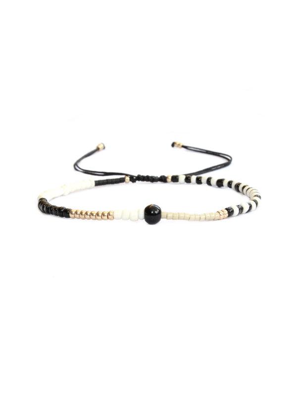 Lobibeads Armband Mix Black White Gold 102