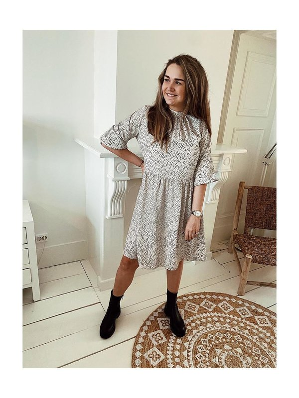 A-view Jannie Dress White With Black Dots
