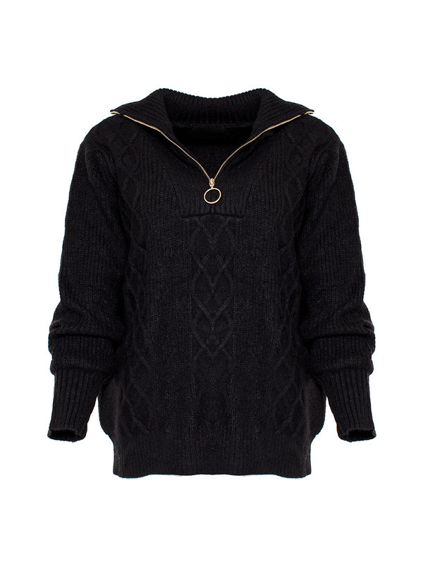 By Sara Collection Maxime Black Zipper Knit