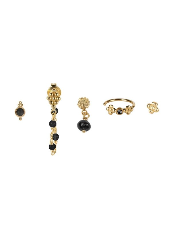 Betty Bogaers Mix And Match 5 Stud Set BLACK Gold Plated