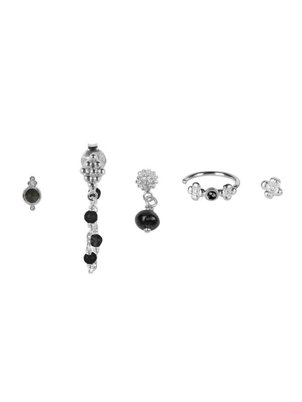 Betty Bogaers Mix And Match 5 Stud Set BLACK Silver