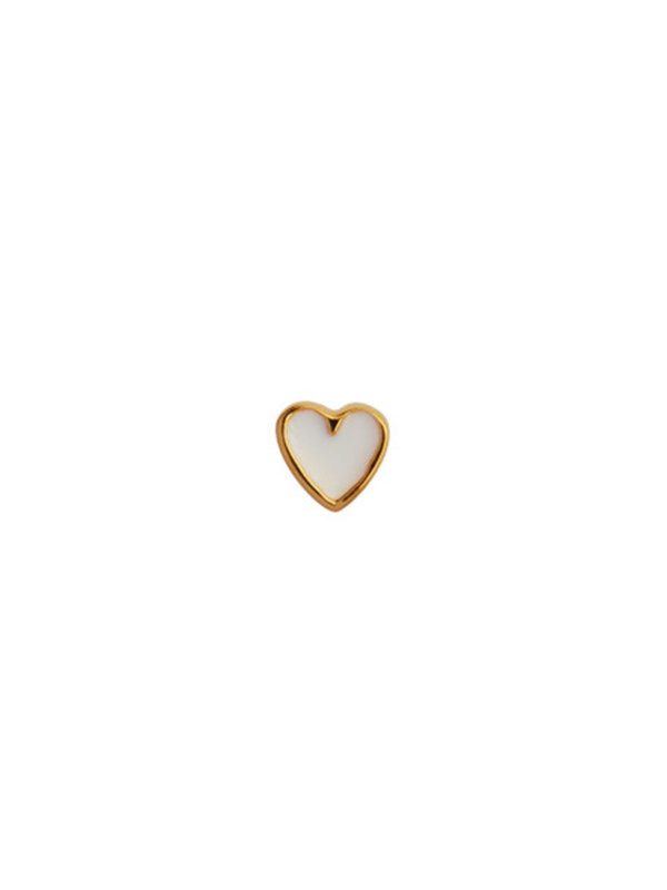 Stine A Petit Love Heart White Enamel Gold