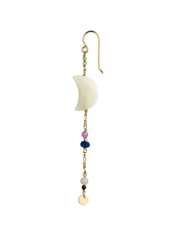 Stine A Midnight Moon Pearl Earring Gold With Gemstone