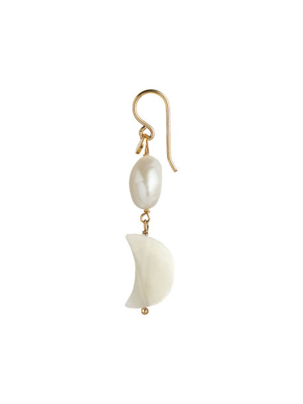 Stine A Midnight Moon And Baroque Pearl Earring Gold