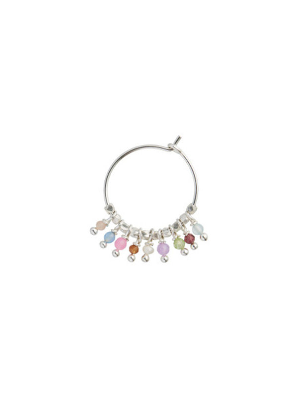 Stine A Petit Rainbow Hoop Silver With Stones- Pastel Mix