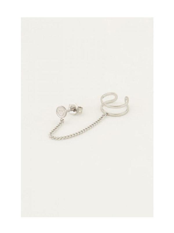 My Jewellery Ear Cuff Smiley Stud Silver