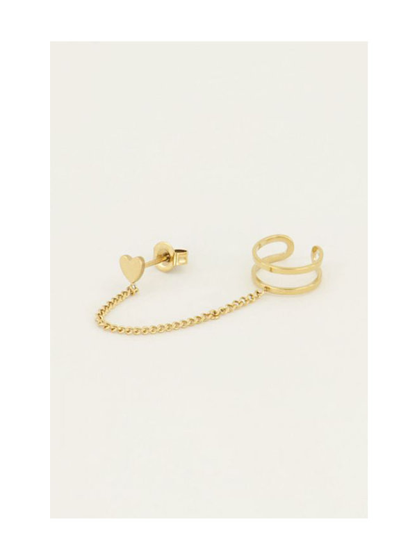 My Jewellery Ear Cuff Heart Stud Gold