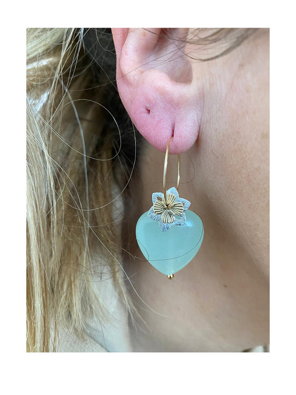Blinckstar Earring Hoop Heart Minty Green Glass and Flower