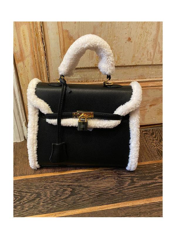 By Sara Collection Big Teddy Bag Black