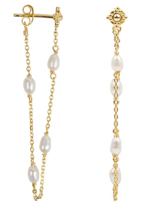 Betty Bogaers Pearl Chain Stud Earring Gold Plated