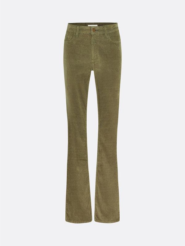Fabienne Chapot Eva Corduroy Flare Trouser Army Green