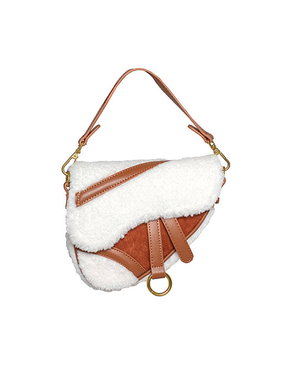 By Sara Collection Small Teddy Bag Cognac