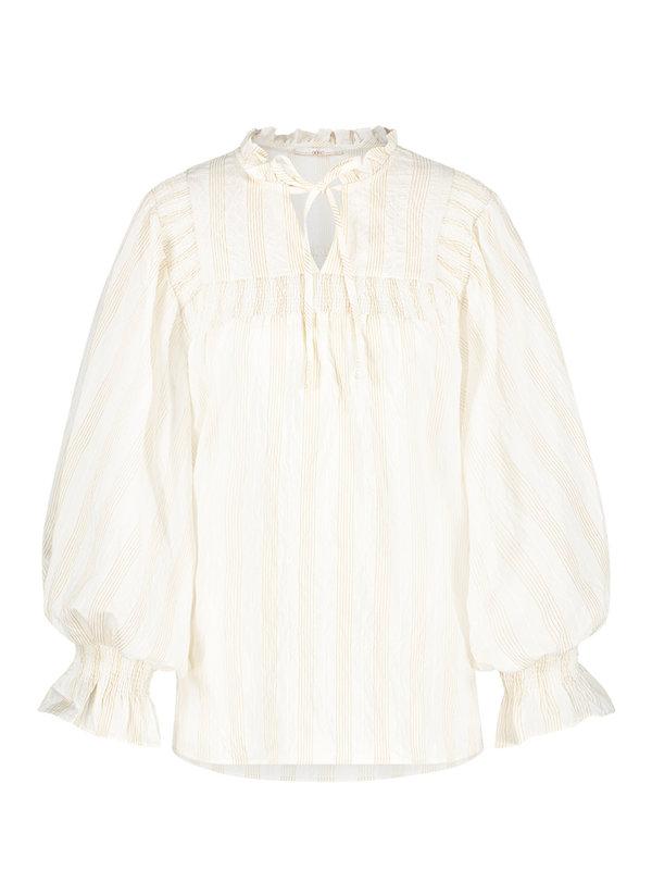 Aaiko Carella Stripe Blouse Les Blancs