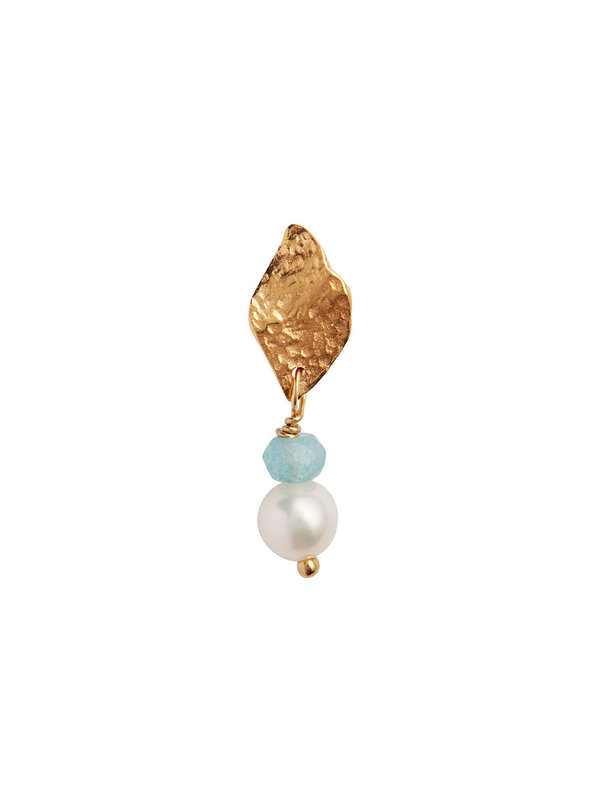 Stine A Ile De L'amour With Pearl And Light Blue Topaz Earring Gold