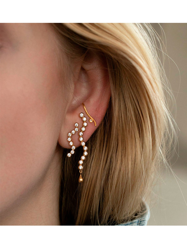 Stine A Midnight Sparkle Long Earring Gold Left