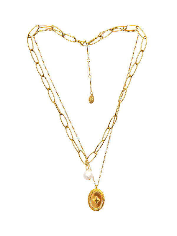 By Sara Collection Necklace  Pretty in Pearl Gold